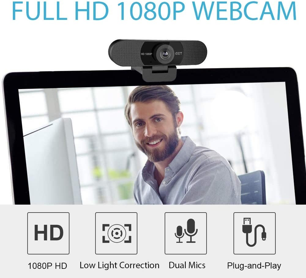 Webcam 1080p – eMeet C960 Full HD Webcam with Microphone for Video Calling, Built-in 2 Mics Ideal Streaming Webcam, 90°Wide-Angle View, USB Webcam Plug and Play, Low-Light Correction and Fixed Focus